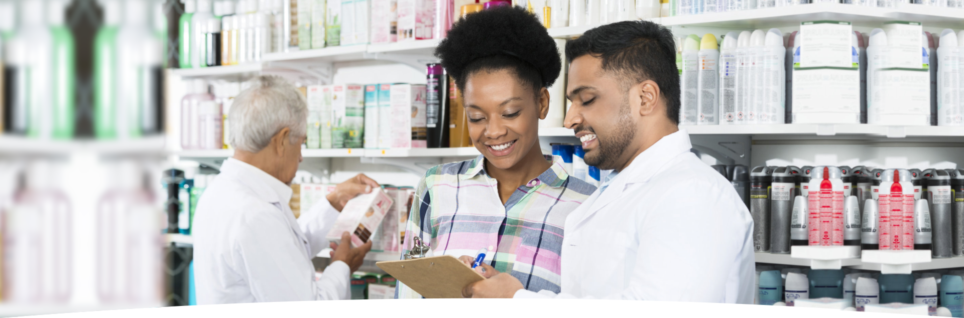 Pharmacist and customer in pharmacy